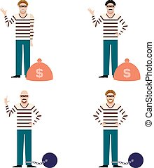 Set of Thieves - Vector image of the set of flat icons of...