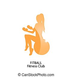 fitness club orange icon - icon fitball and fitness club -...