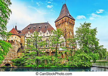 Vajdahunyad Castle Hungarian-Vajdahunyad vara with lake...