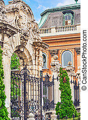 Gates in the territory of  Budapest Royal Castle at day  time. Hungary