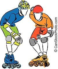men rollerblade skaters illustration