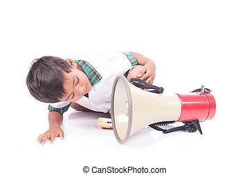 little boy play megaphone