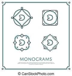 Vector Letter D Monogram - Line Letter D Monogram Vector...
