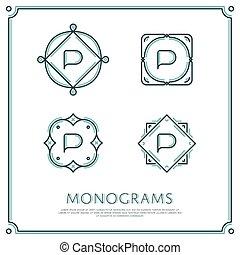 Vector Letter P Monogram - Line Letter P Monogram Vector...