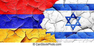 Armenia flag with Israel flag on a grunge cracked wall