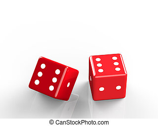 The 3d rendering of casino dice, icon isolated on white...