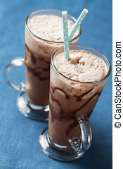 Iced coffee - Refreshing iced coffee drink with whipped...