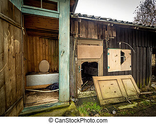 outhouse in an abandoned house