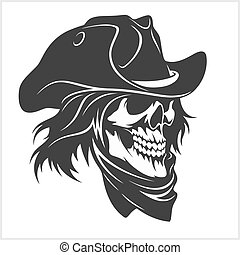 Skull in hat - gangster skull - isolated on white