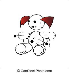 Voodoo Girl - Cartoon style voodo girl doll vector...