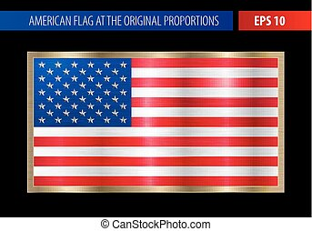 American flag in a metallic gold frame. Metal texture glare...