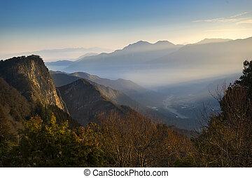 Beautiful morning sunrise with scene of Yushan mounatin...