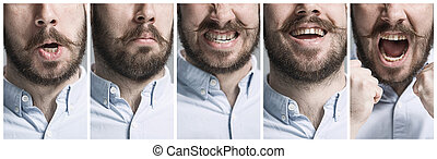 Set of young mans portraits with different emotions - The...