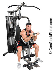 Handsome young man doing lateral pull-down workout isolated...