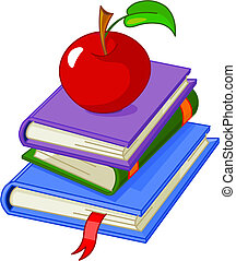 Pile book with red apple illustration, isolated on white...