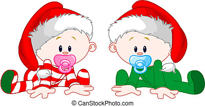 Christmas Babies - Two cute babies with Christmas costumes