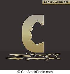 Letter C. Broken mirror