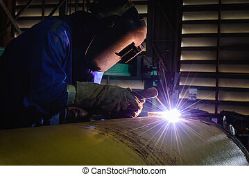 Welding steel structures and bright sparks