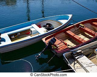 pequeno, pesca, Ostentação, em, Um, porto, em, Funen,...