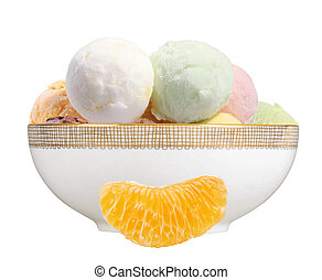 Scoop of fruit ice cream and orange slice in plate isolated on white background