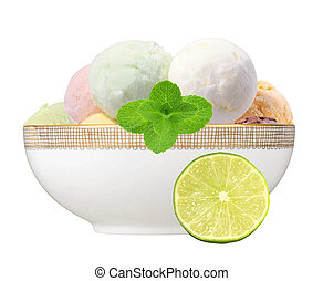 Scoop of fruit ice cream with mint herb and lime in plate isolated on white background