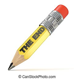 Yellow pencil THE END concept. 3D render illustration...
