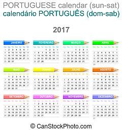 ポルトガル語, クレヨン, 日曜日, バージョン, カレンダー,  2017, 土曜日