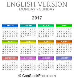 2017 Calendar English Language Version Monday to Sunday -...