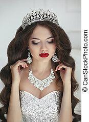 美しい, 花嫁, ファッション, 構造, 宝石類
