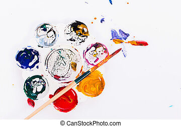 watercolor on palette white background
