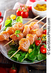 Raw Chicken Shish Kabobs - Raw chicken kebabs ready for...