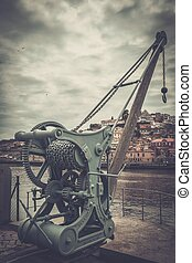 Old abandoned customs port on the Douro river, Porto,...
