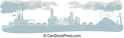 urban ecology background with smoke clouds - Vector urban...