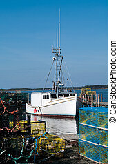 Lobster Boat at the Dock - Lobster Boat at the dock on Grand...
