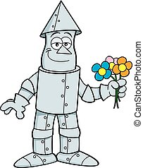 Cartoon tin man holding flowers. - Cartoon illustration of a...