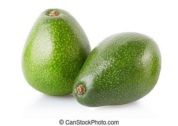 Avocado fruits on white