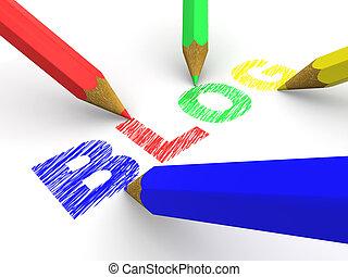 pencils depicting text blog. 3d