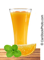 orange juice with slices of orange and mint in the glass on table isolated on white