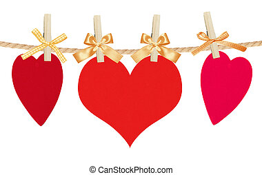paper hearts and card on rope, isolated on white
