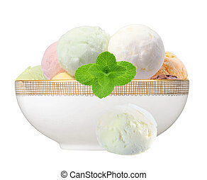 Scoop of fruit ice cream with mint herb in plate isolated on white background