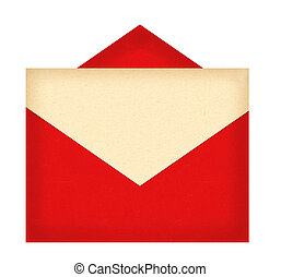 Red letter envelope with paper isolated on white background