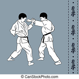 Men demonstrate karate, hieroglyph of karate