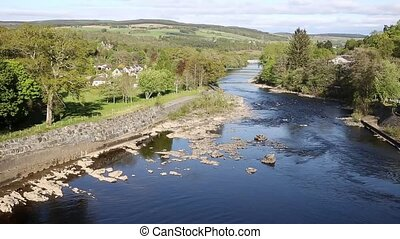 Pitlochry Scotland UK River Tummel and fish ladder pan