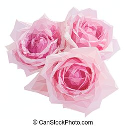 three pink blooming roses - Low poly illustration three pink...