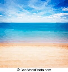 sea shore with blue sky - Low poly illustration sandy beach...