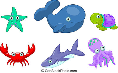 Sea Life - Colorful cute sea creatures - Starfish, Octopus,...
