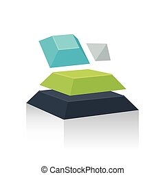 Abstract Object 3D green blue gray color