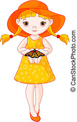 Little girl with butterfly - Illustration of cute little...