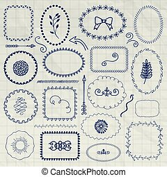 Vector Decorative Pen Drawing Borders, Frames, Elements -...