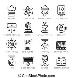 Set line icons of house systems isolated on white. Vector...